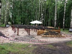 Фундамент новой сцены установили в парке им. А.С.Пушкина в Нижнем Новгороде